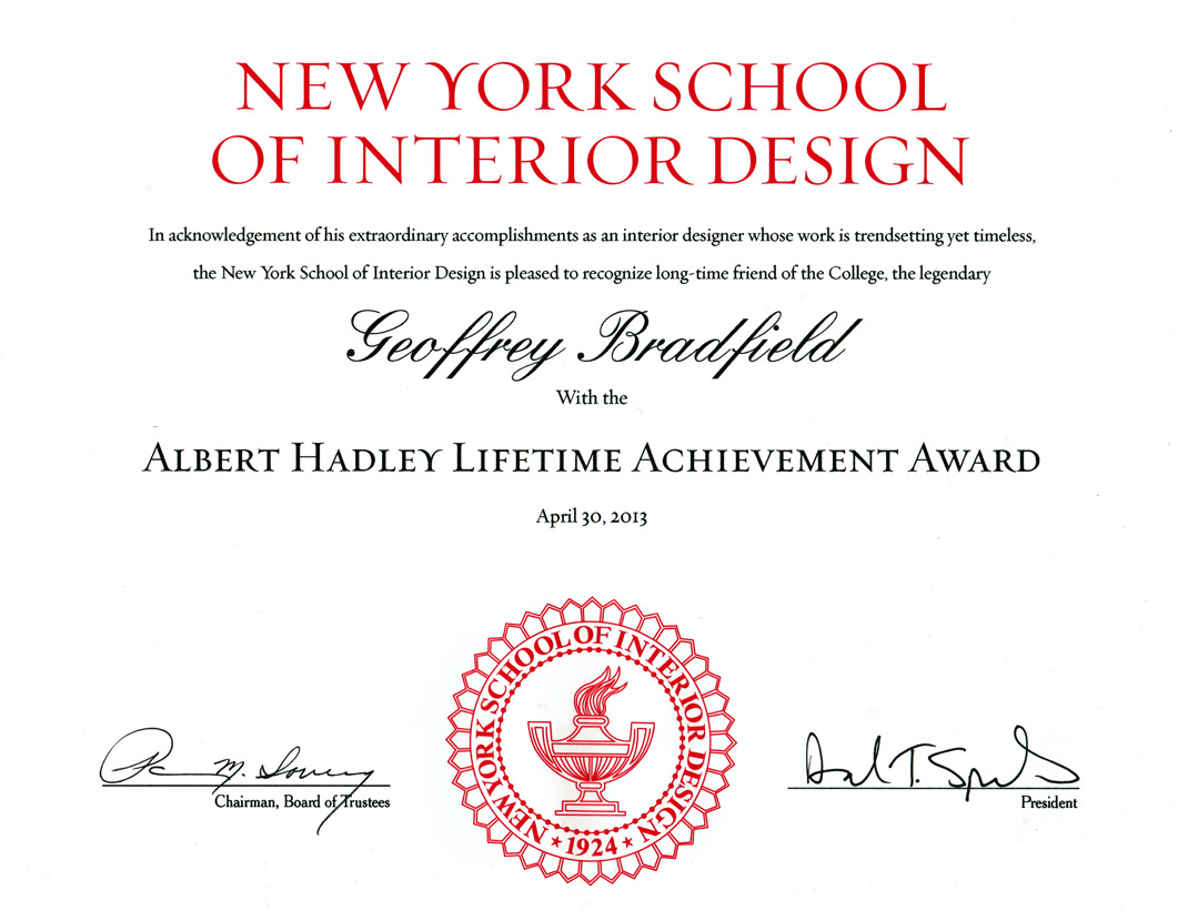 bradfield tobin luxury interior design awards honors